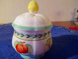 Willeroy&Boch gyümölcs mintás porcelán cukortartó
