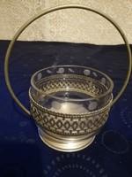 Eladó régi fém attort kínáló metszett üveg betéttel!