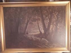 Hangulatos olajvászon festmény nagyméretü