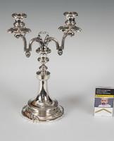 Ezüst 2 ágú gyertyatartó címerrel