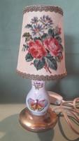 Antik herendi porcelán lámpa gobelin ernyővel