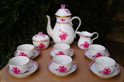 Herendi Apponyi purpur  teás készlet 6 személyre eredeti dobozában