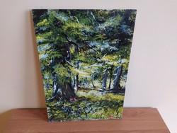 Erdő mélyén szép kis modern festmény, szignózott