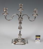 Ezüst 3 ágú, nagy méretű gyertyatartó