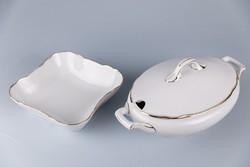 Bavaria PM porcelán leveses tál, köretes, nagy méretűek, régi, jelzett, számozott.