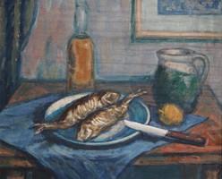 Orosz László (1928- ): Csendélet halakkal - olajfestmény eredeti keretében