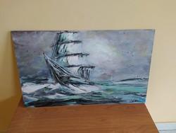 Háborgó tenger kortárs festmény