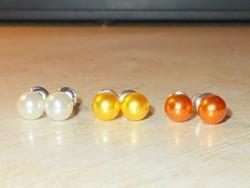 Törtfehér - Arany - Óarany Shell Pearl Gyöngy. 3 pár Fülbevaló Egyben csomag
