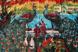 Pávás Régi selyem mokett falvédő nagy faliszőnyeg