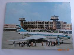 Régi képeslap: a MALÉV TU-134 típusú gárturbinás repülőgépe 1970 körül