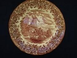 Eladó régi angol porcelán jelenetes mázas Royal Tudor  kináló tál!