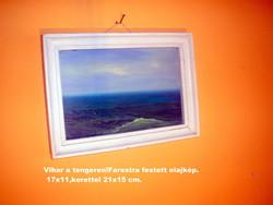 Kisméretű,farostra festett olajkép Kerettel 21x15/17x11 cm.