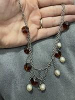 Káprázatos ezüst nyakék gyöngy díszítéssel 45cm hosszú