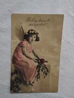 Antik, kézzel színezett fotó/képeslap kislány/angyal, Húsvét 1910-20-as évek