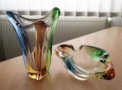 Cseh ólomüveg váza és tál