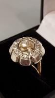AKCIÓ -10% Nagyon szép, antik, mutatós gyémánt, 14 K arany gyűrű