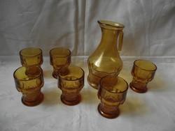 Méz,borostyán színű üveg italos,boros készlet,6 személyes (pohár,kiöntő kancsó)