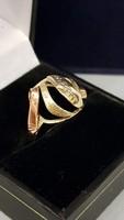 AKCIÓ -10% Nagyon szép, régi, mutatós arany gyűrű 14 K 3 színű arannyal