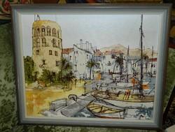 Bernard Dufour (1922-2016) Kikötő absztrakt festmény