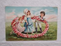 Antik, litho/litográfiás, dombornyomott képeslap/üdvözlőlap gyerekek, viktoriánus stílus 1910