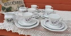 Seltmann Weiden Bavaria német porcelán virágos  Ibolyás trió szettek csésze csészealj sütistányér
