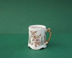 Antik szecessziós Hüttl (?) Budapest vékony porcelán mokkás csésze