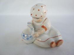 Zsolnay porcelán pöttyös kendős Annuska