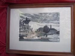 Csurgói Máté Lajos (Csurgó, 1931 — 2001): Budavári részlet  Rézkarc, 28*39 cm képméret, Jelzett