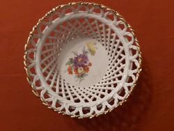 Aranyozott szegélyű, festett porcelán kosárka, bonbonier