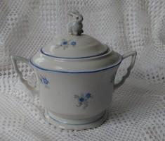 Zsolnay öttornyos jelzésű, manófüles cukros, apró kék virágmintával