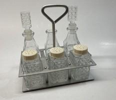 Üveg fűszertartó és olajos, öntetes flaskák készletben