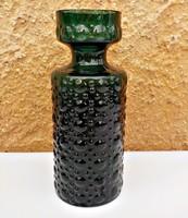 Formába fújt jelzett  hólyagos díszítésű méregzöld üvegváza