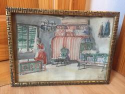 Füstös Zoltán enteriőr szobabelső kislánnyal akvarell festmény