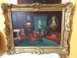 Gyönyörű aranyozott Blondel keretben Veress Zoltán / 1868-1935 / enteriőr olaj-vászon festménye