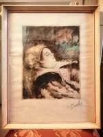 Csók István színezett rézkarc, Báthory Erzsébet