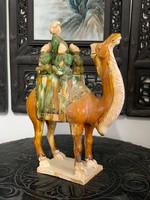 Kína kerámiai Silk Road (selyemút) 3 mázas (sancai) szobor, porcelán, ázsiai, keleti