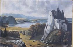 Békéssy Gábor – Várrom a tó mellett című hangulatos festménye – 33.