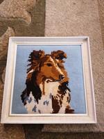 Gobelin keretezett kép, skót juhász, 'Lassie'. 25x25 cm.