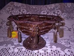 Antik, gyöngy fűzött, üveg függelékes asztali kínáló kosár - ritka vagy egyedi darab