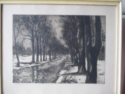Iván Szilárd /1912-1988/ festőművész csodálatos téli képe