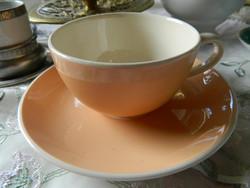 Közel 100 éves Villeroy&Boch fajansz teás, kávés csésze és alj, bézs