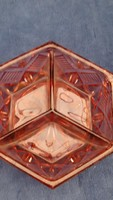 Art Deco Csiszolt Rózsaszín ,Osztott Üveg,Kínáló