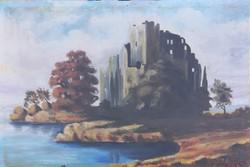 Békéssy Gábor – Várrom a tó mellett című hangulatos festménye – 34.