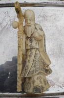 Antik keleti bölcs, 19 sz. csont faragás 22cm