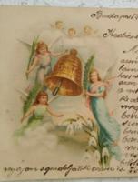 Szecessziós, litho/litográfiás képeslap/üdvözlőlap angyalokkal, hóvirág, harang 1900-ból