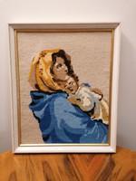Nagyon szép gobelin kép keretezve, anya gyermekével. Hibátlan, 36x44 cm.