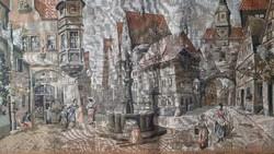Antik, gépi goblen, szövött gobelin, falikárpit, faliszőnyeg, falikép
