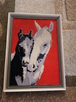 Gobelin keretezett lovas kép. 23x32 cm