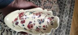 Asztaközép, kínáló, Fischer, Zsolnay,Znaim jellegű gyönyörű kézzel festett virágokkal, luxus Antik