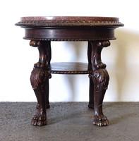 1D112 Antik faragott oroszlán lábas dohányzóasztal körasztal márványlappal